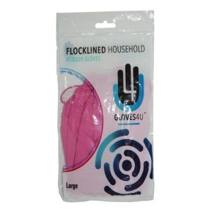 Flocklined  Rubber  Gloves   -  Pink - Small