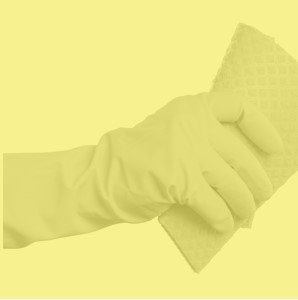 FLOCKLINED RUBBER GLOVES