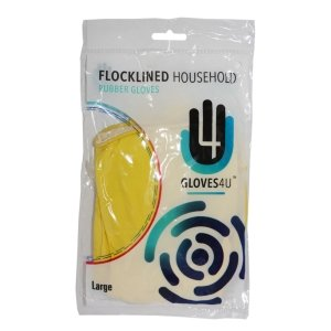 Flocklined  Rubber  Gloves   -  Yellow - Small